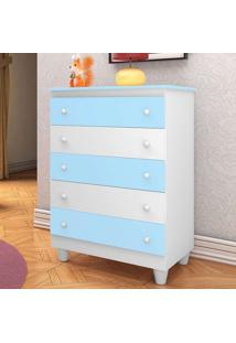 Cômoda Para Quarto Infantil Vitória Branca/ Azul - Peternela