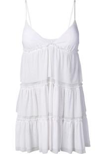 Fisico Vestido De Alcinha Com Babado E Transparência - Branco