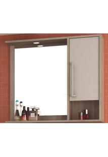 Espelheira Para Banheiro Com Led 1 Porta 2 Prateleiras E Nicho Luise Móveis Bosi Barrique/Nude