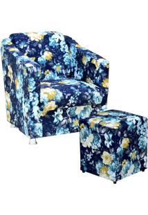 Poltrona Decorativa Lyam Decor Com Puff Laura Estampado Azul