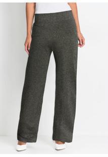 Calça Pantalona Com Fio Metálico Preta E Prata