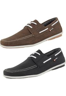 Mocassim Casual Cr Shoes Drive Preto Café