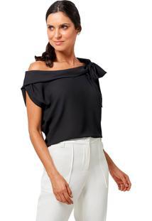 Blusa Mx Fashion Com Amarração Vitória Preta