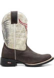 Bota Texana Bico Redondo - Masculino-Marrom+Branco