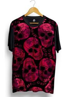 Camiseta Bsc Skull Pink Print Full Print - Masculino-Preto