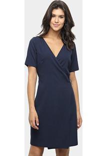 Vestido Lança Perfume Manga Curta Decote V - Feminino-Azul