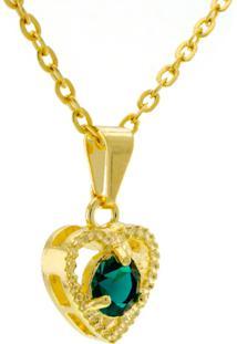Gargantilha Horus Import Ponto Luz Coração Esmeralda Banhada Ouro 18 K Dourado/Verde