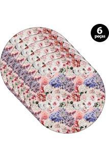 Capa Para Sousplat Mdecore Floral Colorido 6Pçs