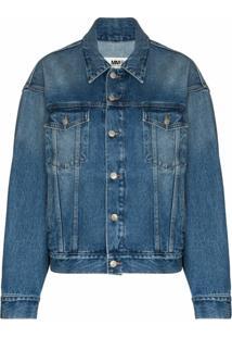 Mm6 Maison Margiela Jaqueta Jeans Com Botões E Efeito Desbotado - Azul