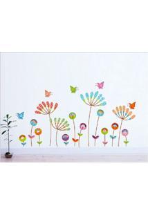 Adesivo De Parede Divanet Flores E Borboletas Colorido - Multicolorido - Dafiti