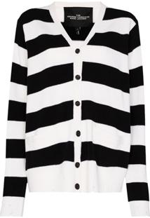 The Marc Jacobs Grunge Striped Cardigan - Preto