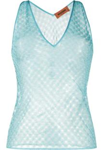Missoni Blusa Cropped De Tricô - Azul