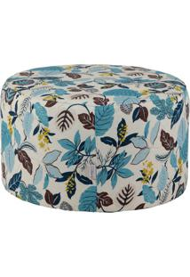 Puff Redondo Pastilha Jacguard Floral Azul Ii