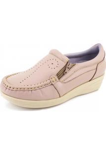 Mocassim Doctor Shoes Anabela 200 Zíper Rosa
