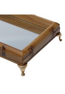 Bandeja De Madeira Com Espelho E Pés Dourado 50Cm Perfil Grande Woodart