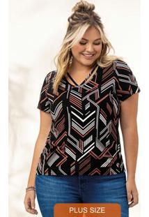 Blusa Preta Stripe Geométrica
