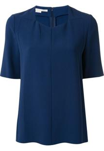Stella Mccartney V-Neck Short-Sleeved Blouse - Azul