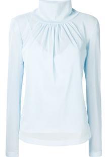 Victoria Beckham Blusa Com Franzido - Azul