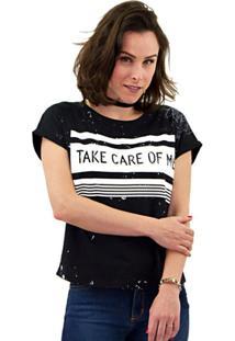 Camiseta Zinco Silk Frontal Plus Size Feminino - Feminino-Preto