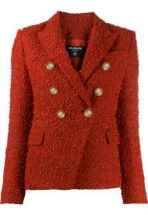 Balmain Blazer De Tweed Com Abotoamento Duplo - Vermelho