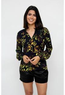 Camisa Clara Arruda Manga Franzida Estampada 12043 - Feminino-Preto
