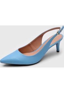 Scarpin Dafiti Shoes Slingback Azul - Azul - Feminino - Sintã©Tico - Dafiti
