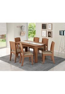 Conjunto De Mesa 136X80Cm Com 6 Cadeiras – Barbara - Cimol - Savana / Suede Marfim