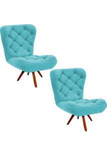 Kit 02 Poltronas Decorativa Botonê Iris Suede Azul Tiffany Com Base Giratória De Madeira D'Rossi Azul