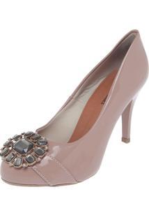 Scarpin Dafiti Shoes Pedrarias Bege