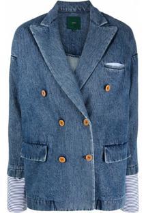 Jejia Blazer Jeans Com Abotoamento Duplo - Azul