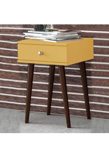Mesa De Canto 1 Gaveta Retrô Rt 3072 Amarelo - Móvel Bento