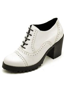 Ankle Boots Oxford Em Couro Feminino Maria Trevo Cano Curto Salto Grosso Tratorado - Branco