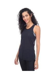 Camiseta Regata Oxer Transpassada Stripes - Feminina - Preto