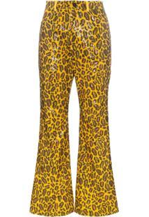 Charm'S Calça Com Estampa De Leopardo E Aplicação De Paetês - Laranja