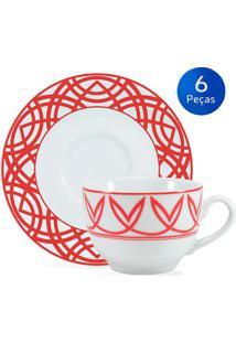 Conjunto 6 Xícaras De Chá Com Pires Helena - Schmidt - Branco / Vermelho