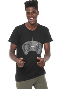 Camiseta Tectoy Mega Drive Sega Front Joystick Preta