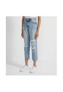 Calça Reta Cropped Jeans Com Puídos E Barra A Fio