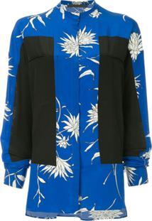 Haider Ackermann Blusa Oversized De Seda Color Block - Azul