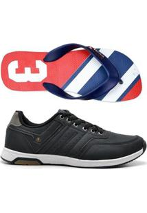 Kit Tênis Jogging + Chinelo Top Franca Shoes - Masculino-Preto+Azul