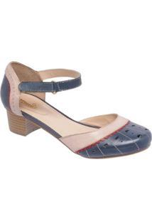 Sandália D&R Shoes Couro Feminina - Feminino-Bege+Marinho