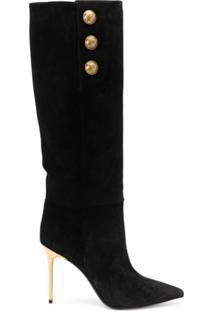 Balmain Bota Bico Fino Com Detalhe Dourado - Preto
