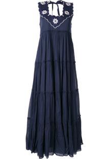 Innika Choo Vestido Longo Com Babados - Azul