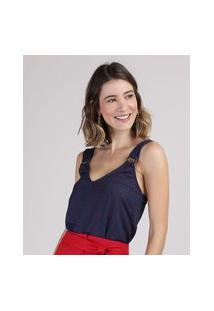 Regata Feminina Estampada De Poá Com Argola Alça Larga Decote V Azul Marinho