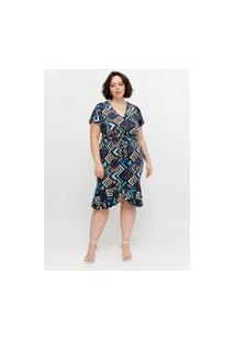 Vestido Midi Almaria Plus Size Pianeta Faixa Embutida Azul