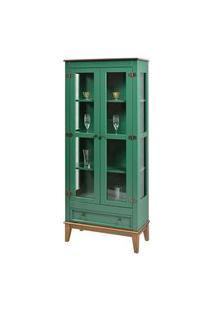 Cristaleira Bia 2 Portas E 1 Gavetas Cor Verde Com Amêndoa 180 Cm - 59026 Verde