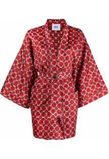 Atu Body Couture Kimono De Seda Com Estampa Geométrica - Vermelho