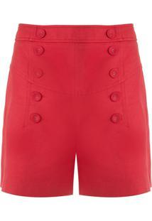 Nk Short Color Rayan Com Botões - Vermelho