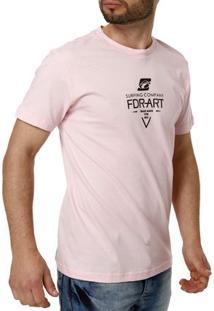 Camiseta Manga Curta Masculina Federal Art Rosa