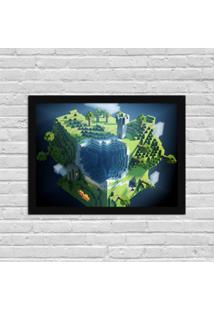 Quadro Decorativo Gamer Minecraft World Preto - Médio