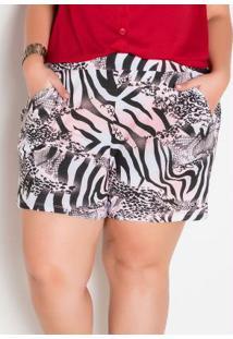 Short Plus Size Com Bolsos Animal Print